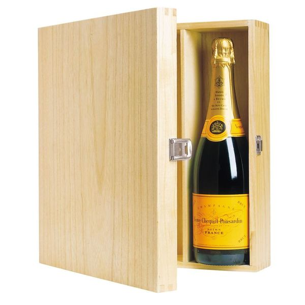 3 Bottle Wooden Wine Box with Hinged Lid